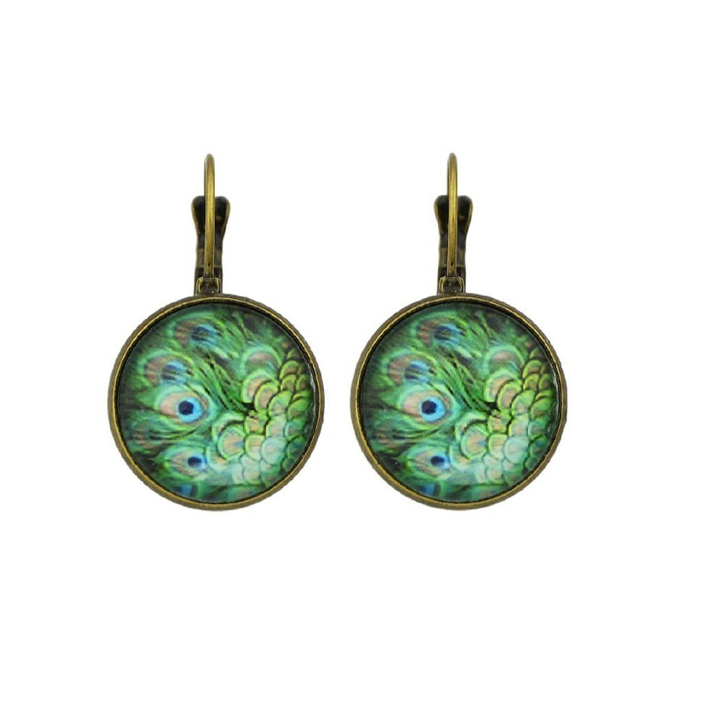 Green peacock feather pattern hoop earrings fashion women men