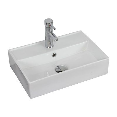 American Imaginations Ai 1 20 In W X 14 In Back To Front Wall Mount Rectangle Vessel Sink Wall