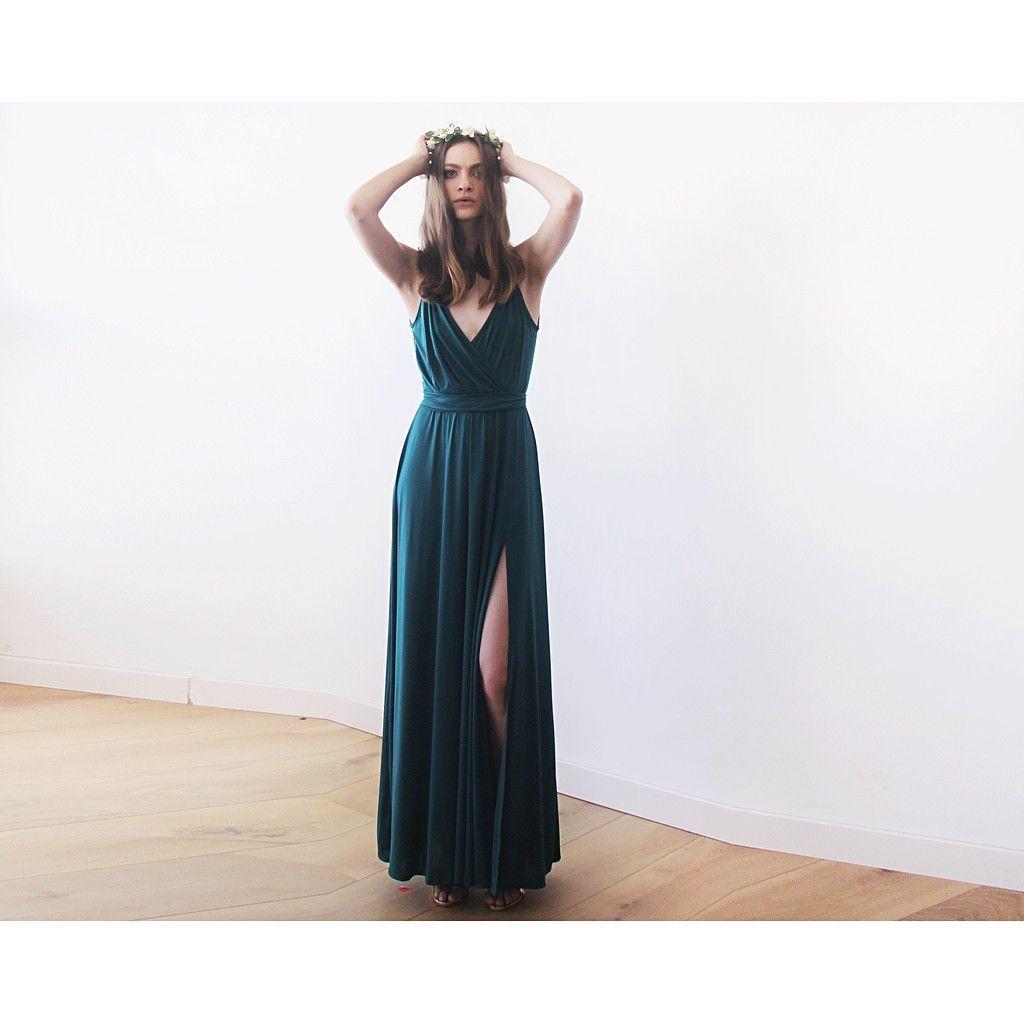 Emerald wedding dress  Green Forest Straps Wrap Dress Emerald Bridesmaids Maxi Dress With