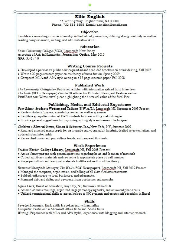 English Major Resume Examples resume Pinterest Resume examples