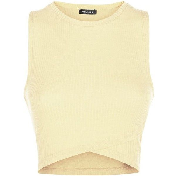 Yellow Sleeveless Ribbed Wrap Crop Top (6.32 AUD) ❤ liked on Polyvore