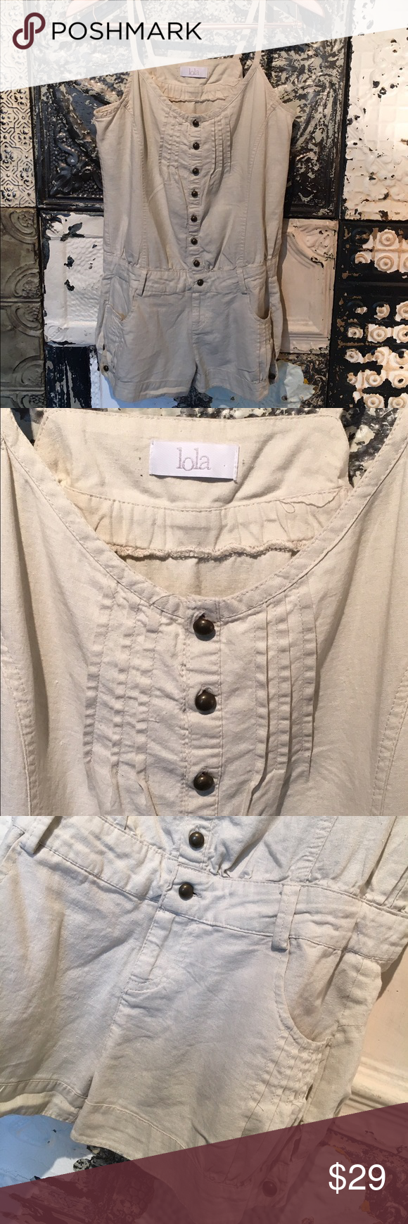 Lola Detailed Romper Detailed romper with pockets on the front and back. Pair with your favorite bralette and sandals. Brand: Lola. Size Small. Great Condition. No Trades. Shorts Jean Shorts