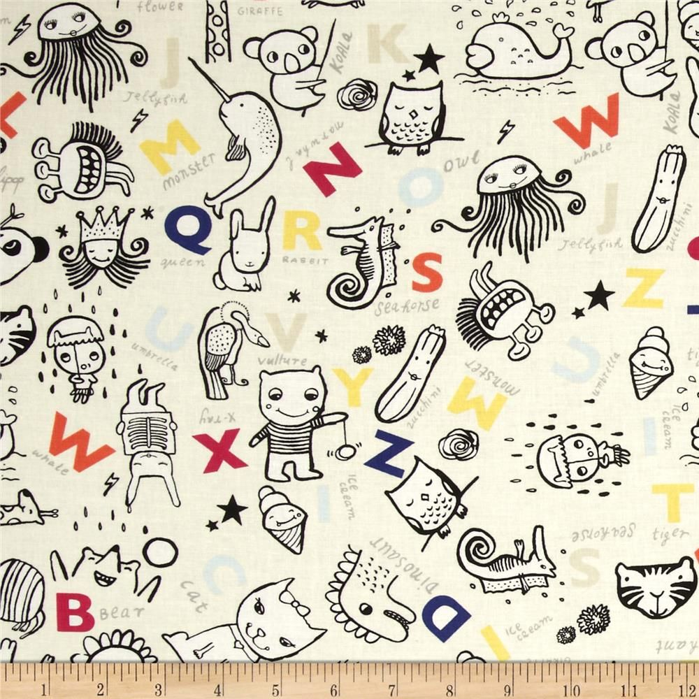 Dear Stella Wild Alphabet & Animals Cream from @fabricdotcom  Designed by Wee Gallery for Dear Stella Designs, this fabric is perfect for quilting, apparel and home decor accents. Colors include white, black, yellow, pink, orange, blue and cream.