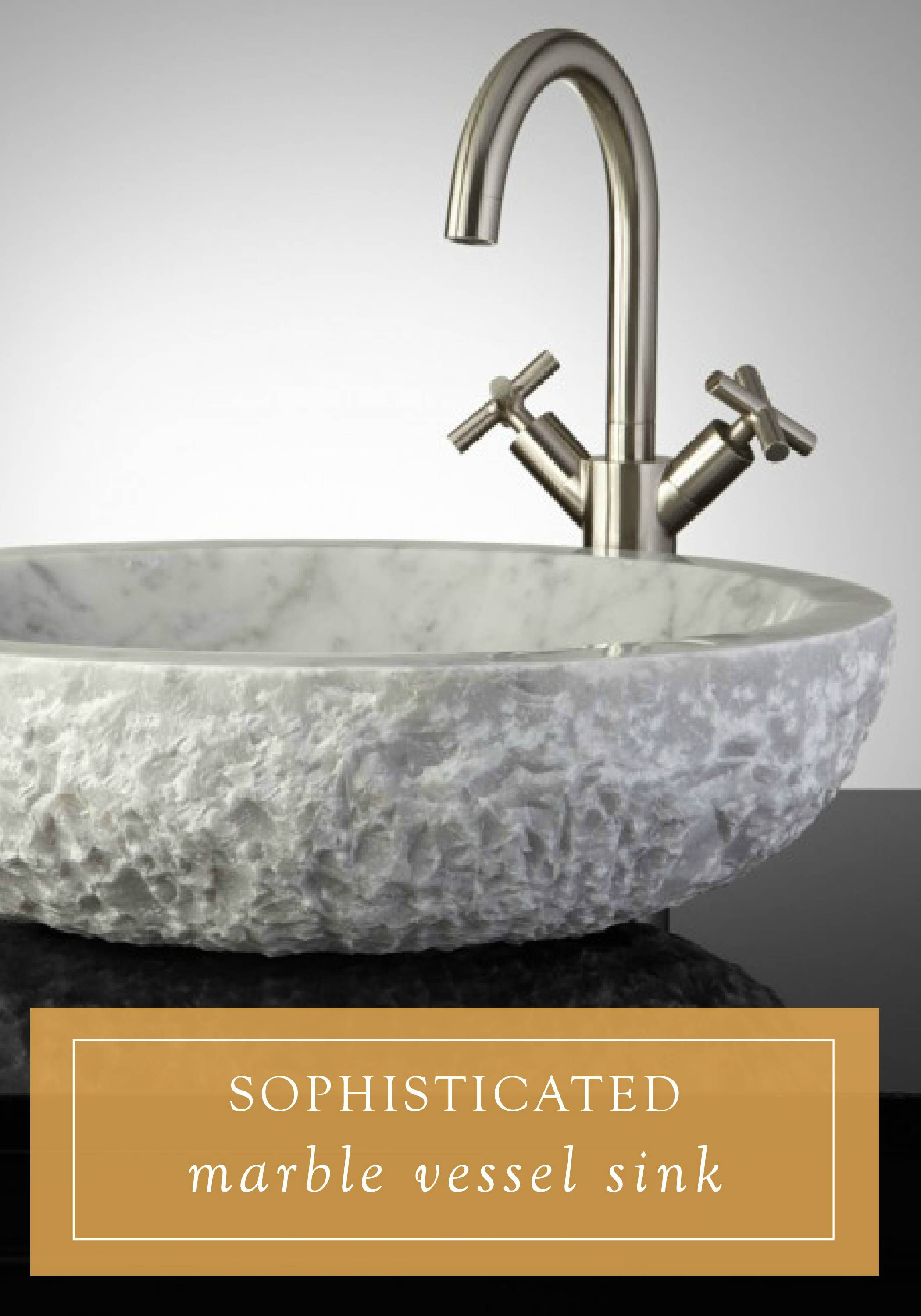 This marble vessel sink will add a touch of nature to your sophisticated bathroom. Pair it with a sleek waterfall faucet and modern vanity to complete the look.