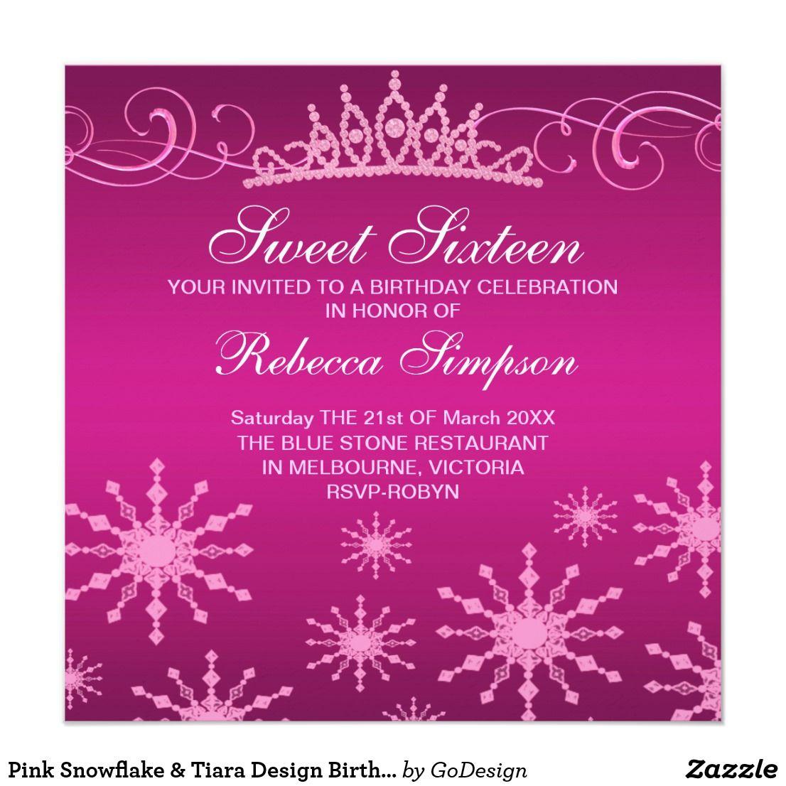 Pink Snowflake & Tiara Design Birthday Invitation Elegant Pink ...