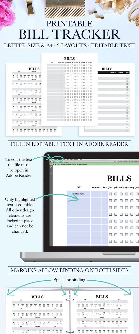 Bill Organizer, Bill Planner, Bill Pay Tracker Keep track of your - Bill Organizer