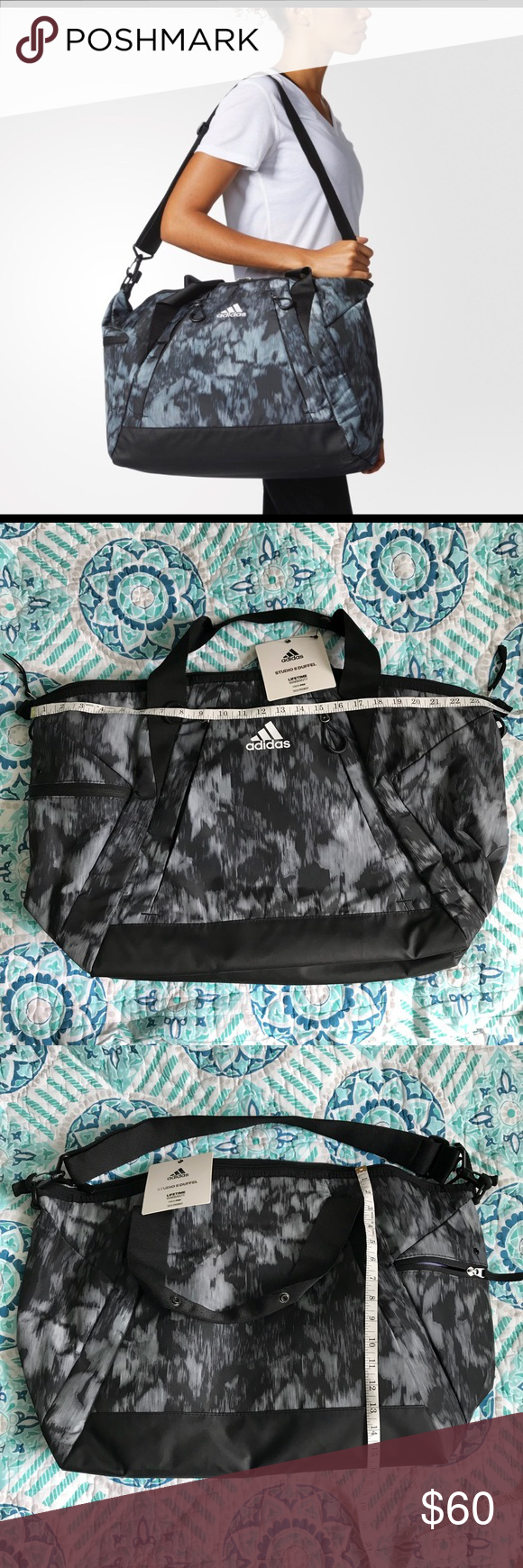 ba082606c67729 Adidas Women's Training Studio ii Duffel Bag Condition: New with tag Size:  One Size Color: Grey/Black/White adidas Bags Travel Bags