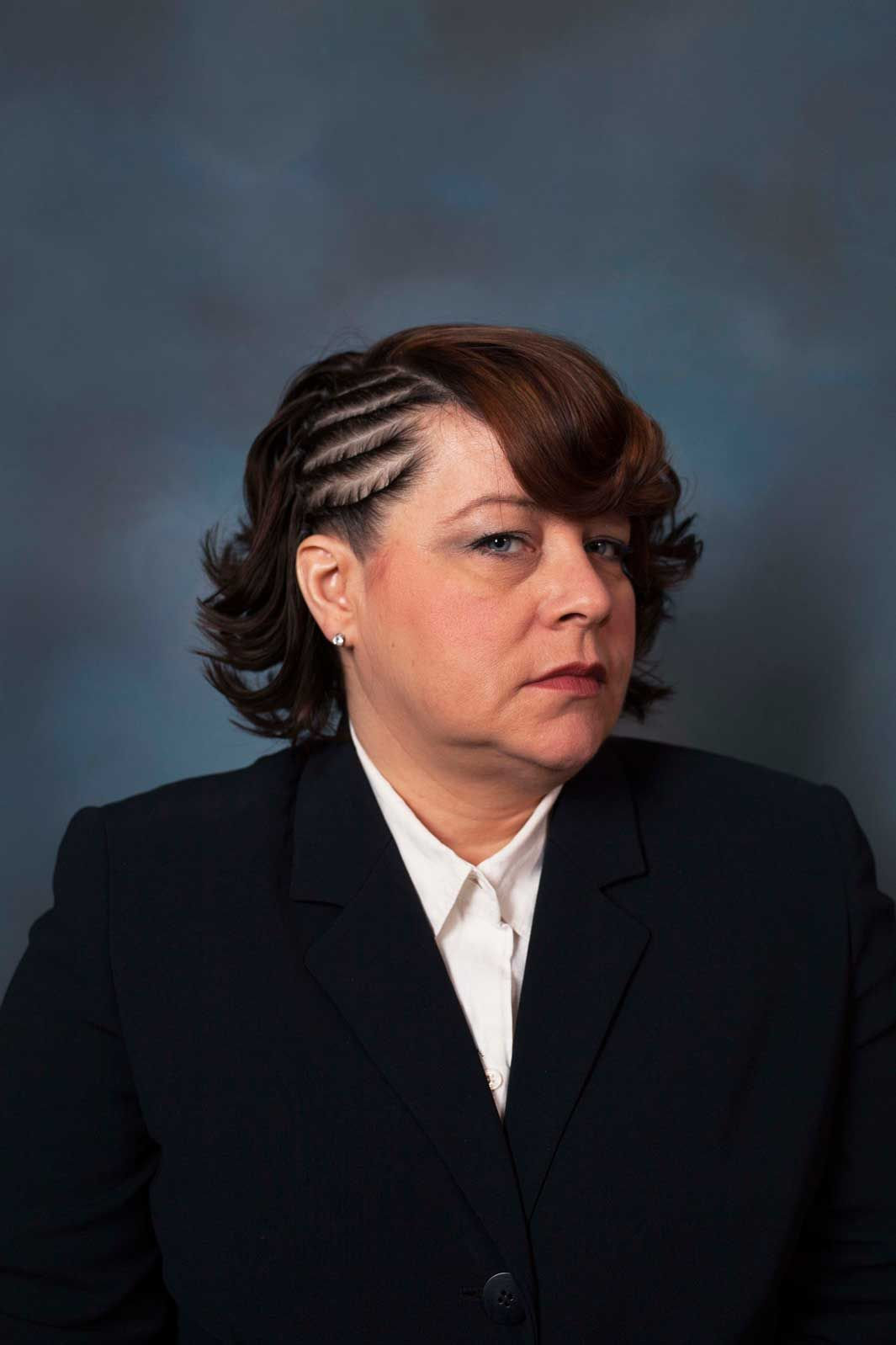 corporate portraits of white women with black hairstyles | white