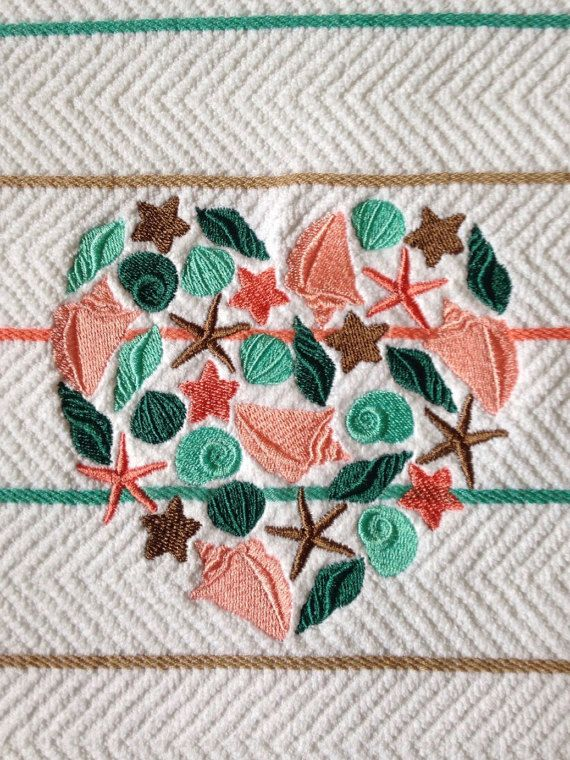 Embroidered sea shells and heart kitchen towel by LuvHooURDesigns
