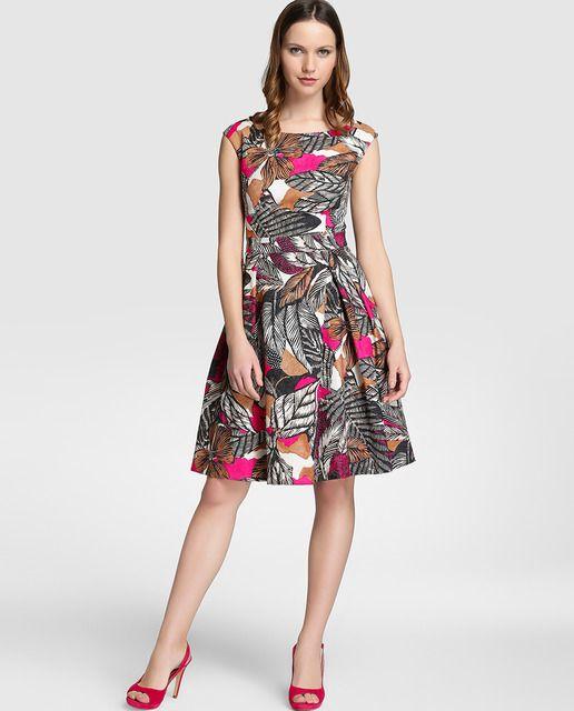 b927c07b3 Vestido de mujer Fiesta El Corte Inglés con estampado y falda con vuelo
