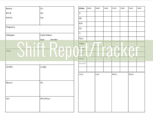 Get Organized ShiftReport Tracker Nursing – Shift Report Template