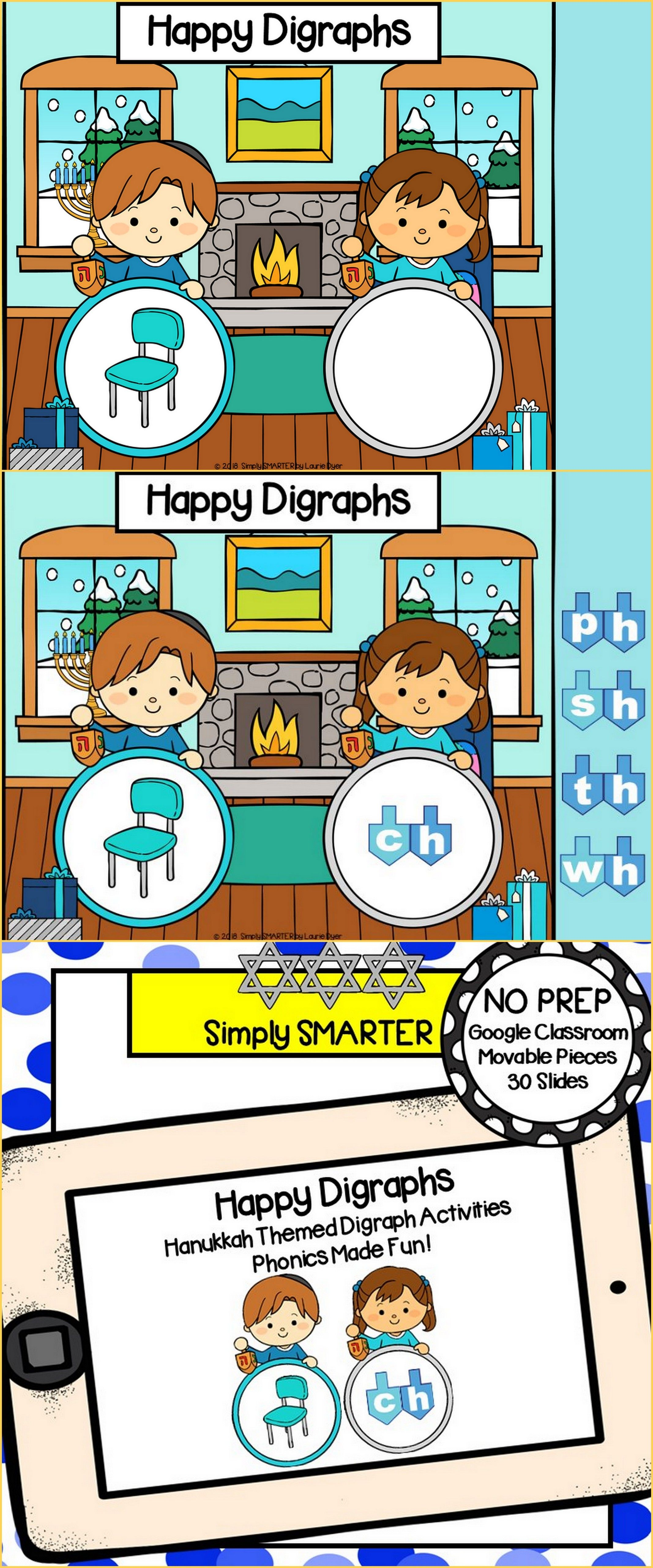 Hanukkah Themed Beginning Digraph Activities For