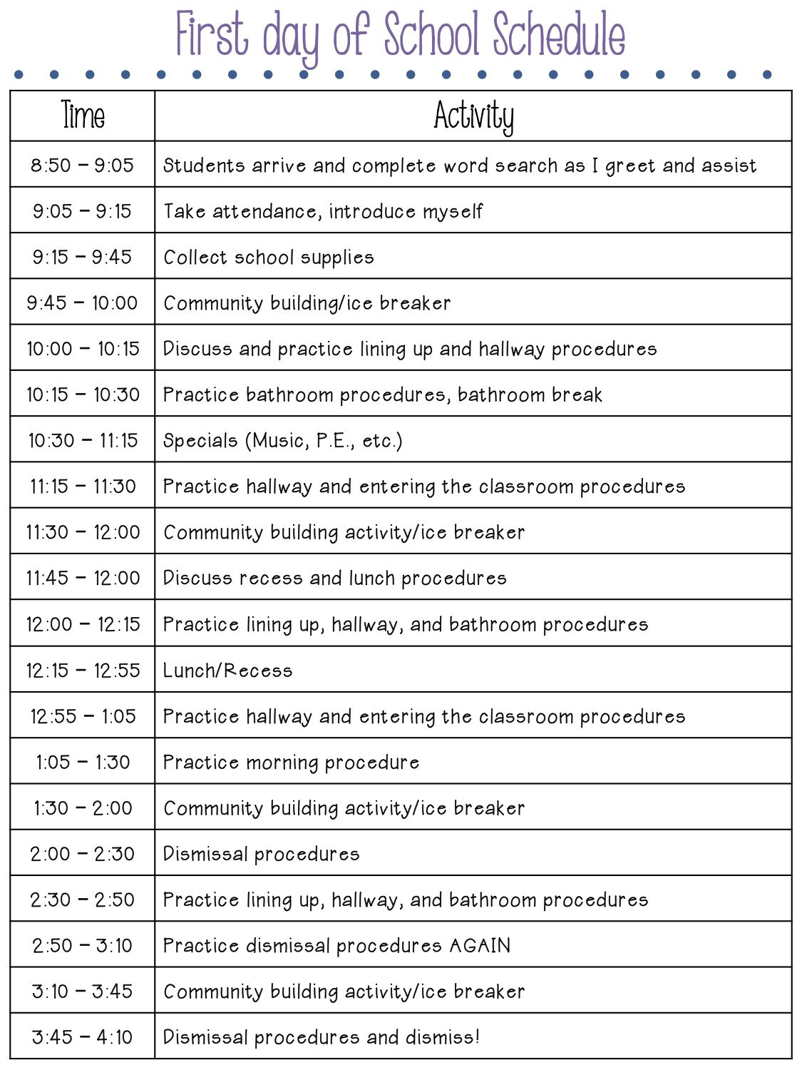 The First Day of School A Practical Schedule is part of Elementary classroom - An example of how to schedule your first day of school in a 3rd grade, 4th grade, or 5th grade classroom  Make sure to schedule in time to build community