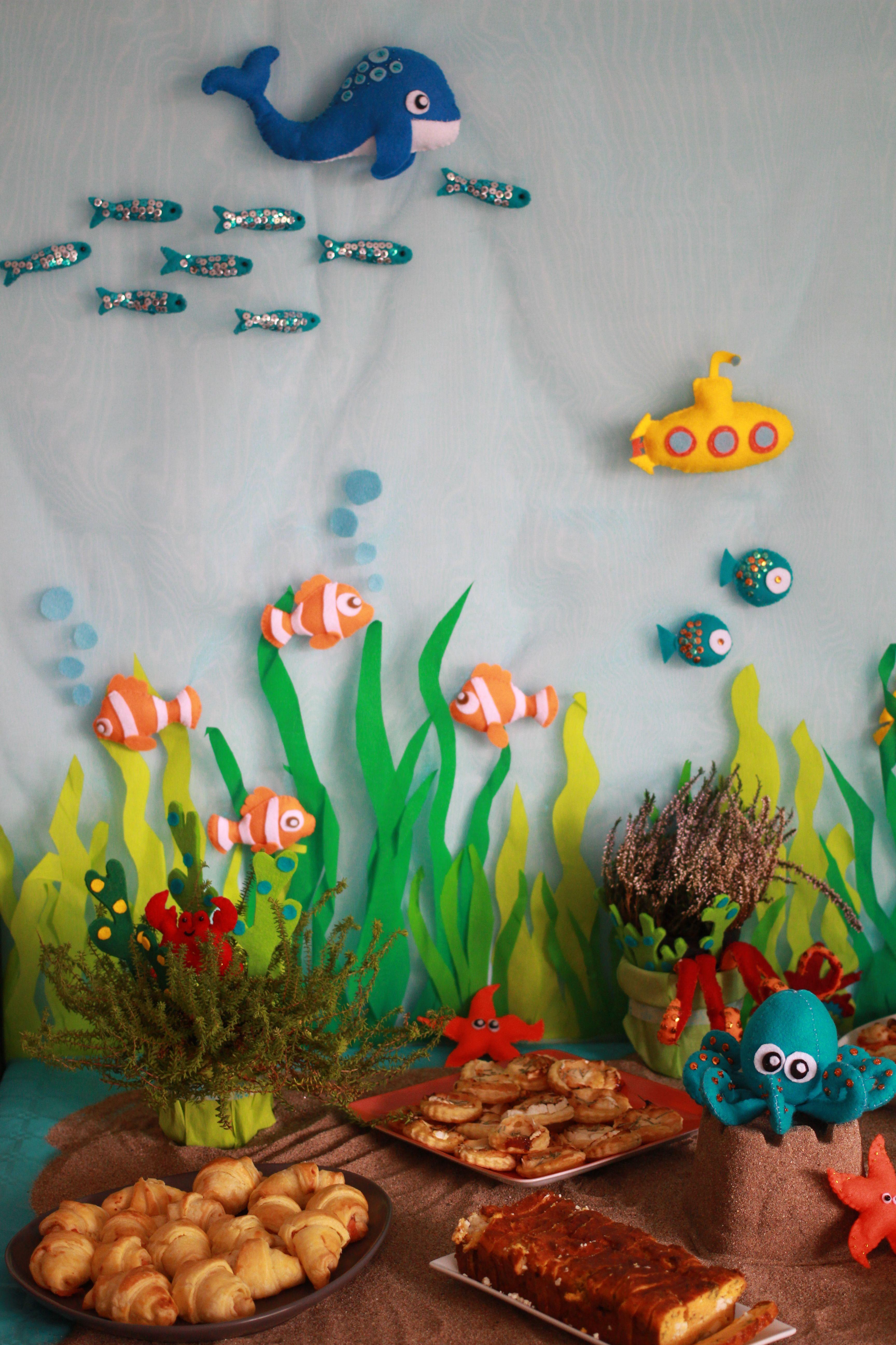 d coration feutrine poissons pieuvre sous marin. Black Bedroom Furniture Sets. Home Design Ideas