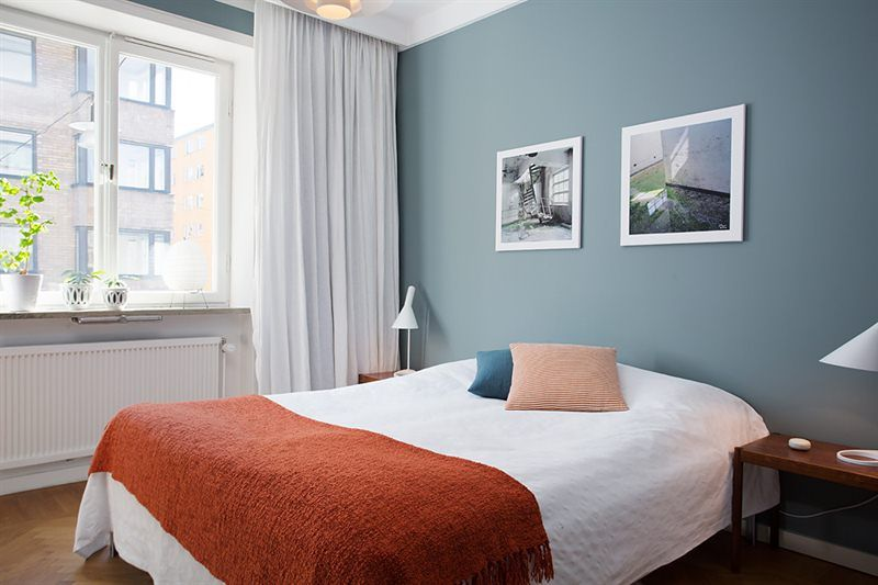 Grön vägg sovrum Sovrum Pinterest Sovrum, Gästrum och Inredning