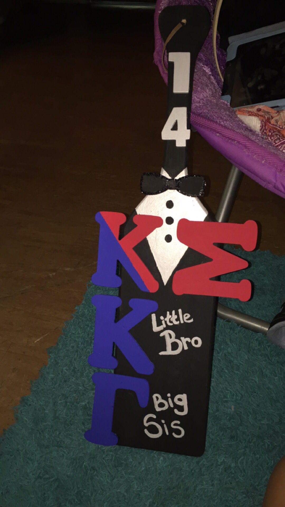 Little bro big sis kappa kappa gamma kappa sigma Greek paddle