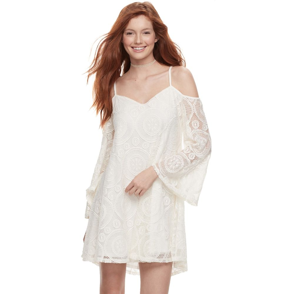 Love, Fire Love Fire Juniors\' Lace Cold-Shoulder Shift Dress | Products