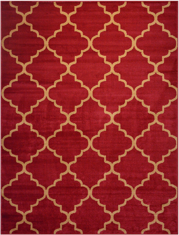 Conur Collection Trellis Contemporary Modern Design Area Rug Cream Dark Red Black Brown Teal Blue