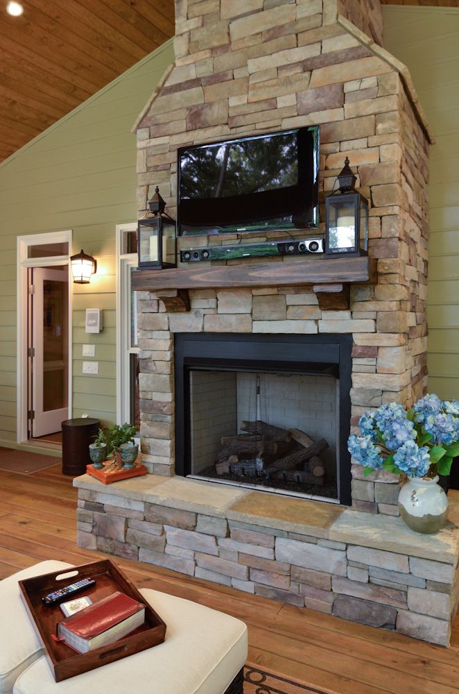 Stone Fireplace With Mounted Tv I Would Want To Cover Tv