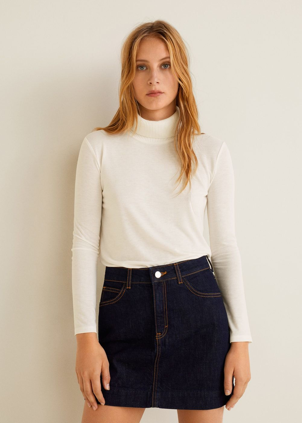1cb601158d53 Stand collar t-shirt - Women | MANGO United Kingdom Cuello Alto, Mangas  Largas