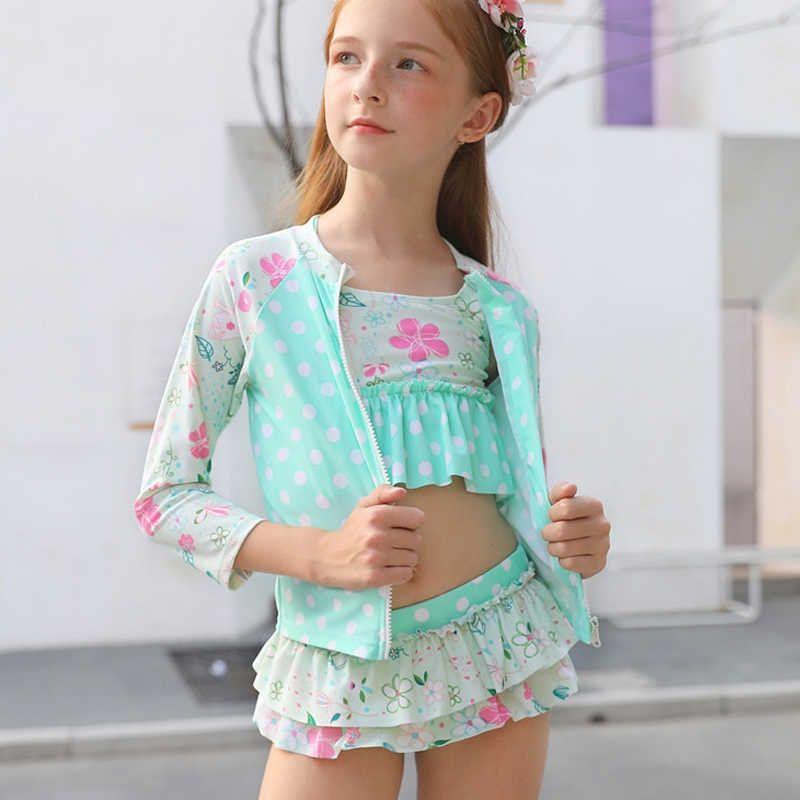Kids Girls Long Sleeves Bikini Sets Swimsuits Swim Costume Two Pieces Swimwears