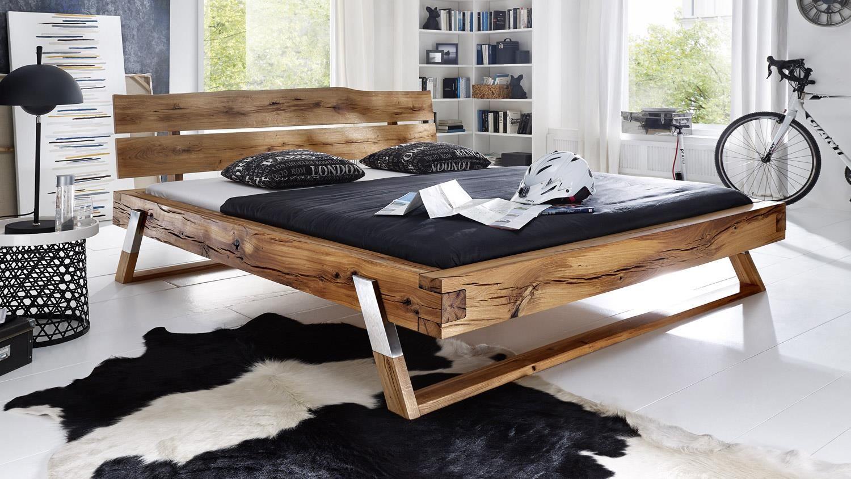 Balkenbett GOJO Bett in Wildeiche massiv geölt Füße