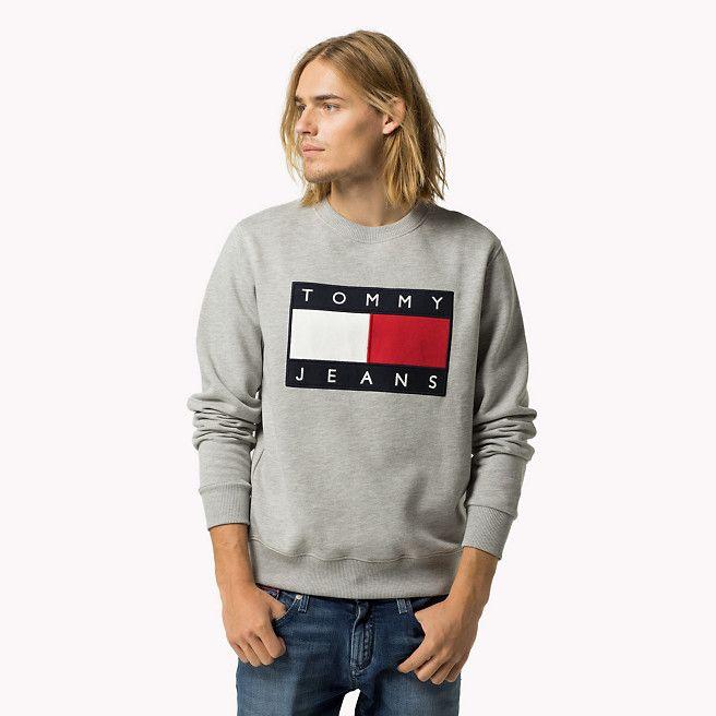 tommy hilfiger logo sweatshirt aus baumwollfleece grey. Black Bedroom Furniture Sets. Home Design Ideas