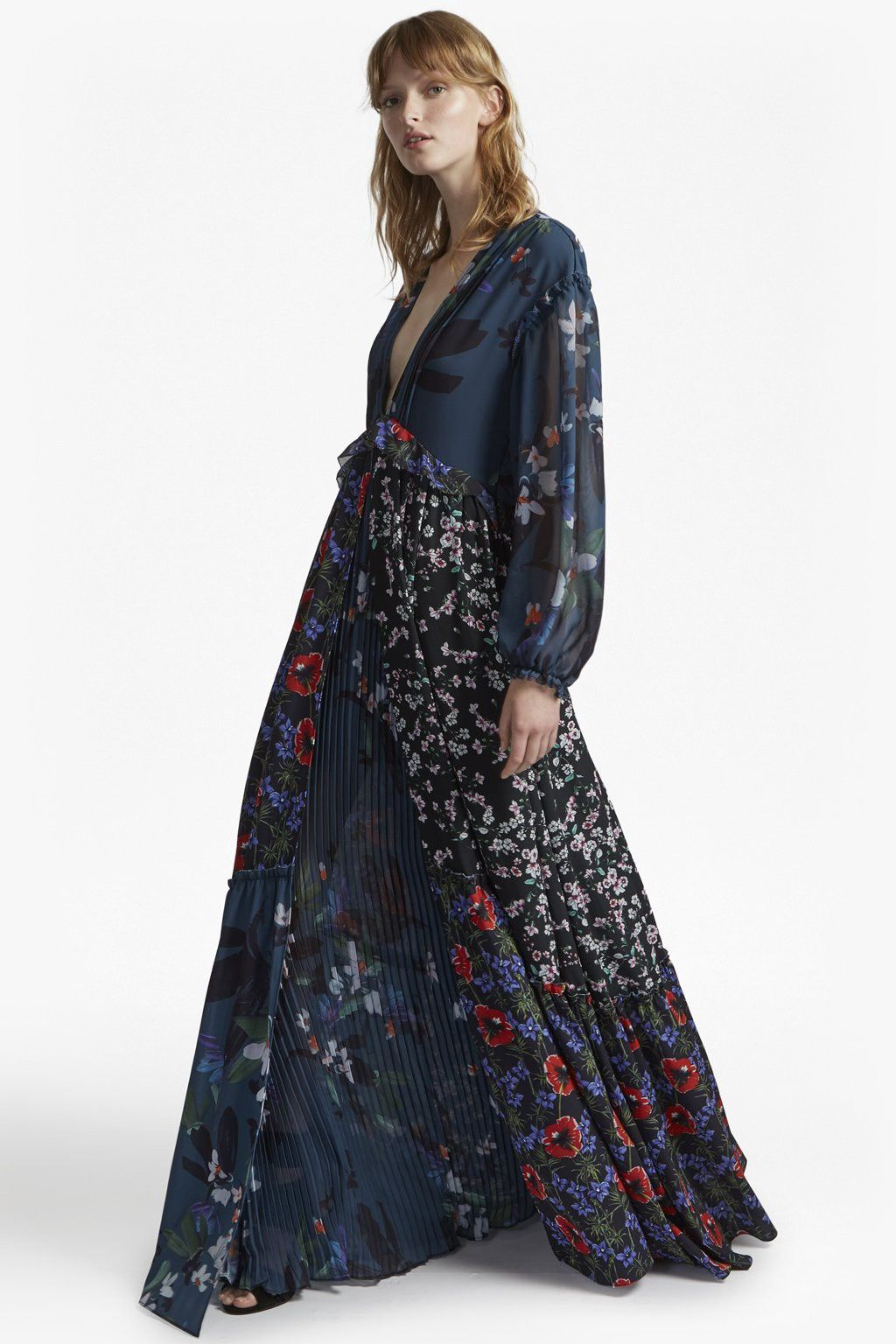 French connection celia mix v neck floral maxi dress products