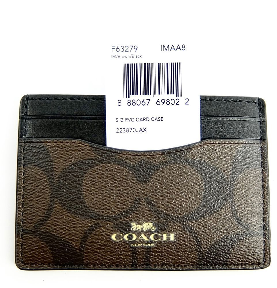 Coach Card Case Wallet Signature C Brown and Black Women Men F63279 ...