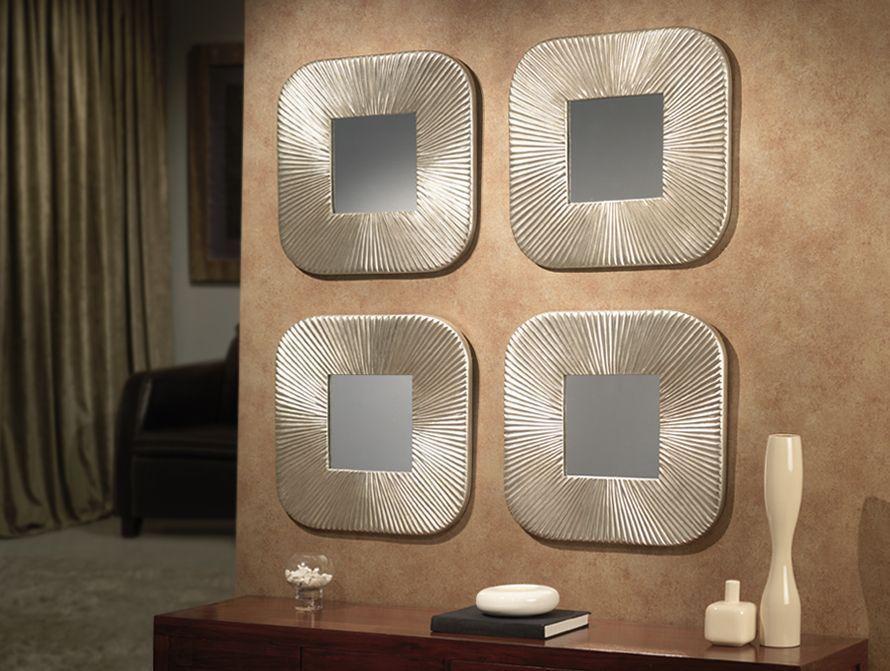 Set de espejos modernos de dise o en pan de plata dakar for Decoracion de espejos