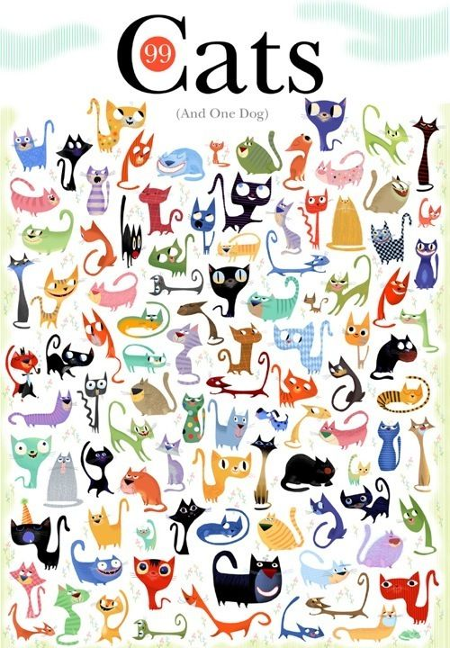 99 Cats and one dog   #illustration #cats #kitties