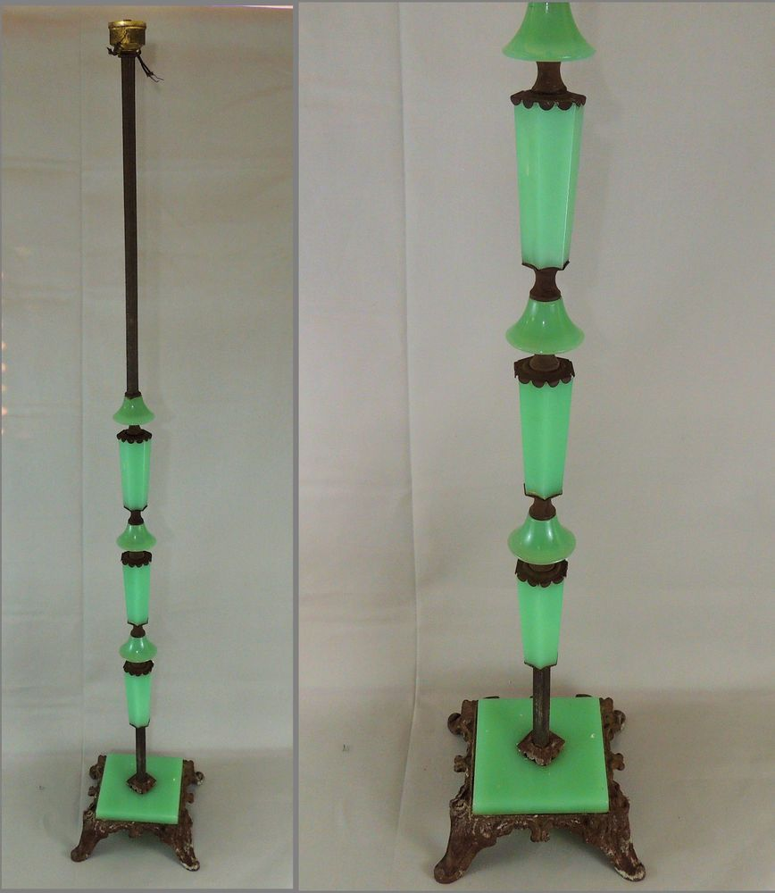 Antique Art Deco Jadeite Houze Slag Glass Cast Iron Floor Lamp Base Parts