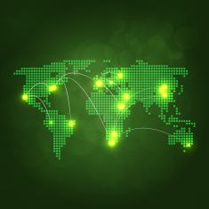 Dotted world map with yellow lights connected on dark background dotted world map with yellow lights connected on dark background vector art illustration gumiabroncs Gallery