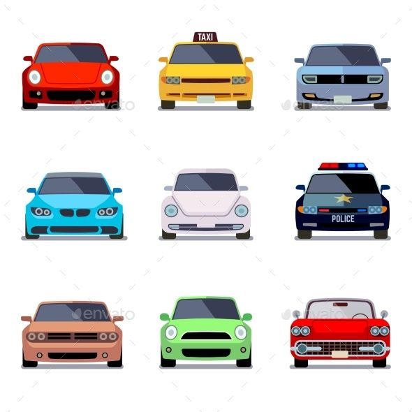 Car Flat Icons in Front View