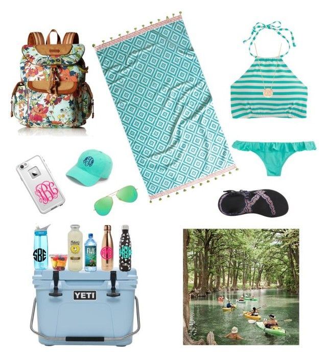 """Lake Day🤘🏼🐠"" by emilycasas ❤ liked on Polyvore featuring J.Crew, Ray-Ban, BaubleBar, S'well, CamelBak, Chaco, LifeProof, John Robshaw and Sakroots"