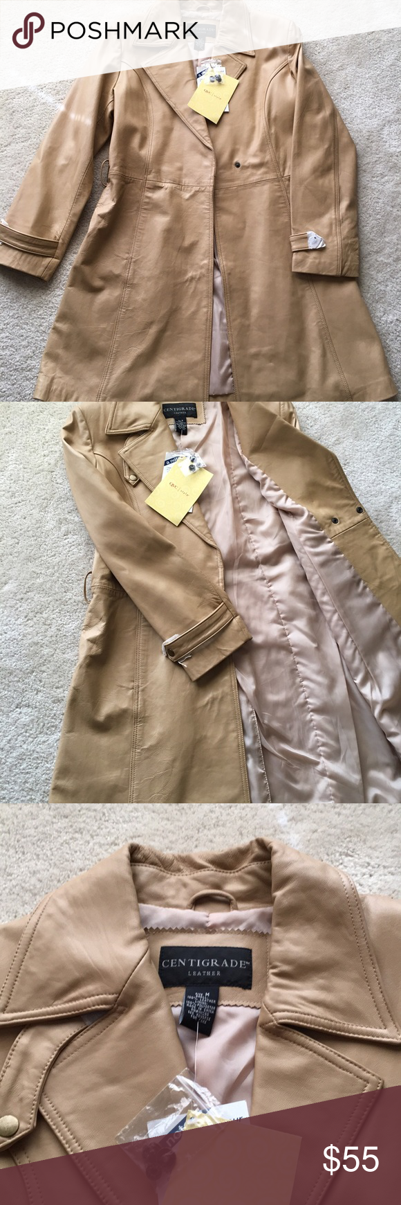 Long Leather Jacket Jacket is new, missing the belt, tags are attached, tan color Jackets & Coats Capes