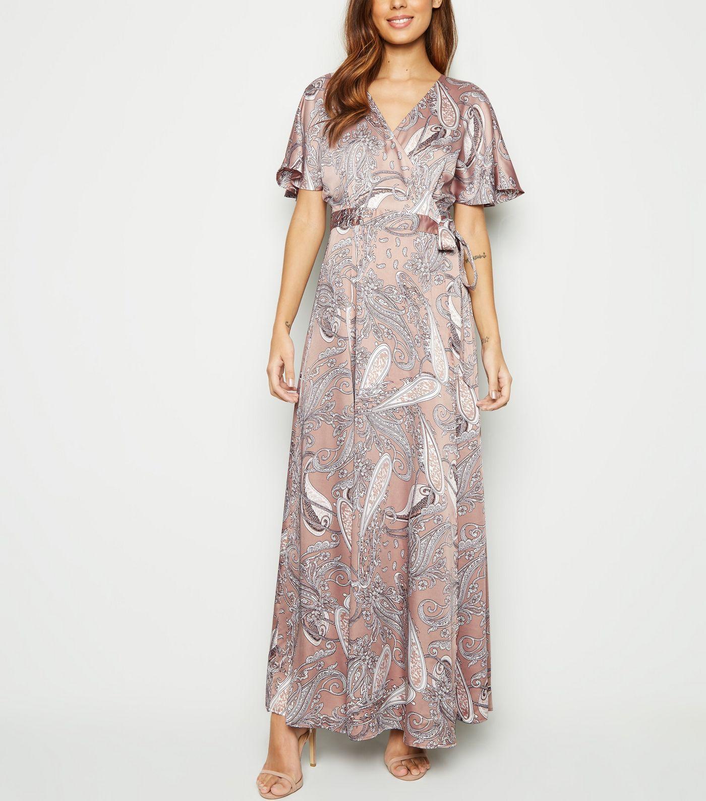feccb0bd288 Blue Vanilla Pink Paisley Satin Wrap Maxi Dress in 2019