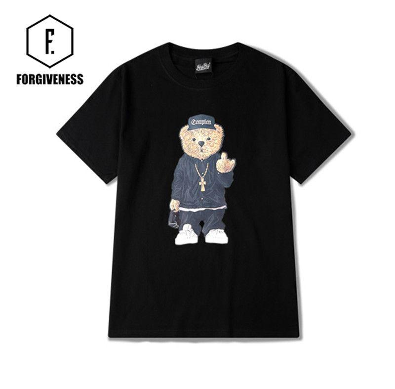 FORGIVENESS S-XXXL hip-hop Bear N.W Straight outta compton short-sleeved t -shirt men and women #women, #men, #hats, #watches, #belts, #fashion, #style