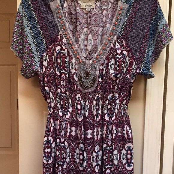"""BOGO FREE SALE Boho ONE WORLD dress Sadly re-phishing  EUC! I'm a medium, thought I could pull off large. Great dress! Approximately 40"""" long. Elastic is super stretchy and so comfortable! ONE WORLD Dresses"""