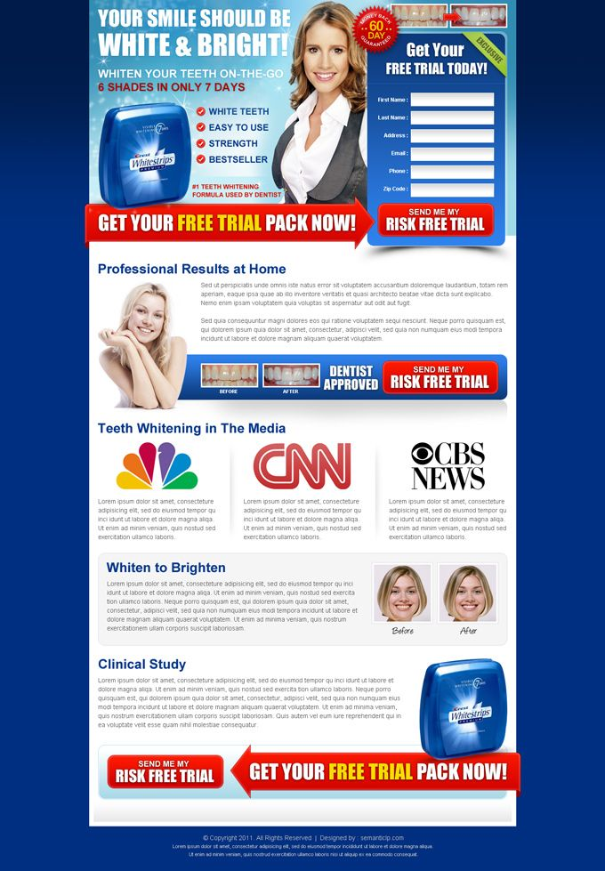 Teeth whitening landing page design templates PSD for sale. | High ...