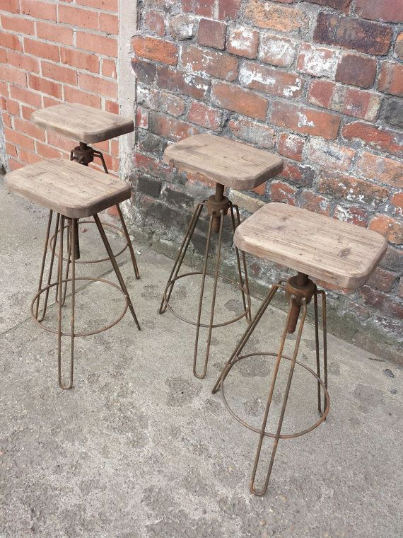 Industrial Hair Pin Leg Stool. Adjustable Height Steel U0026 Reclaimed Wood  Chic Chair , Rusty Hairpin Metal Finish Bar Stool Cafe Restaurant