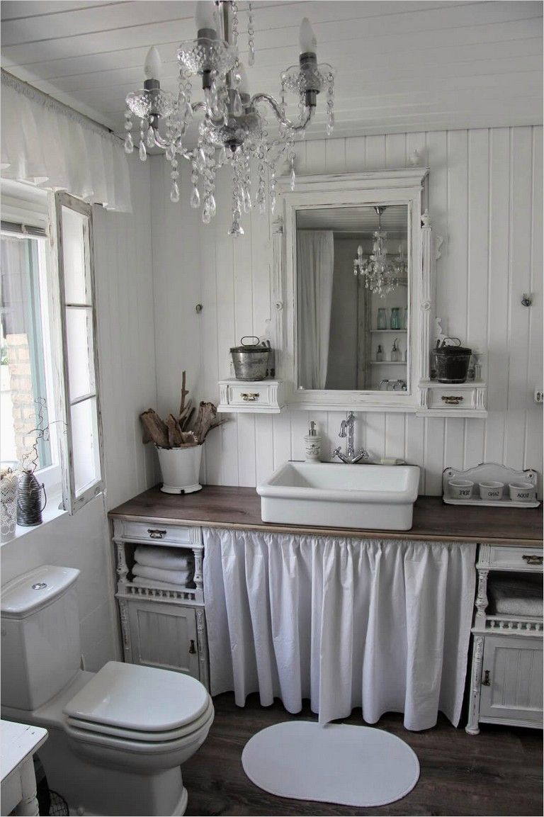 40 Elegant Shabby Chic Bathroom Decorating Ideas Shabby Chic Bathroom Cottage Bathroom Bathroom Decor