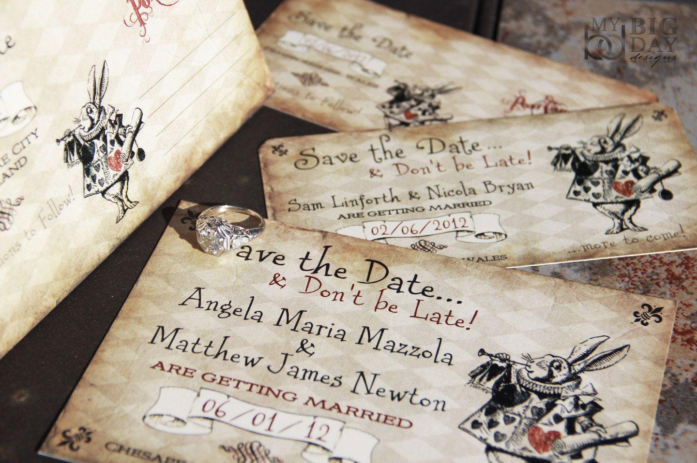 alice in wonderland themed save the date alice in wonderland ticket save the date alice ticket post cardmorphart illustration - Alice In Wonderland Wedding Invitations