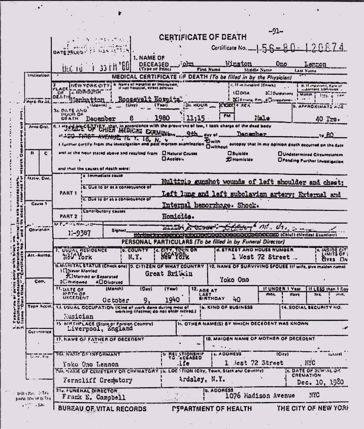 John Lennon's death certificate (1980) | John Lennon ...