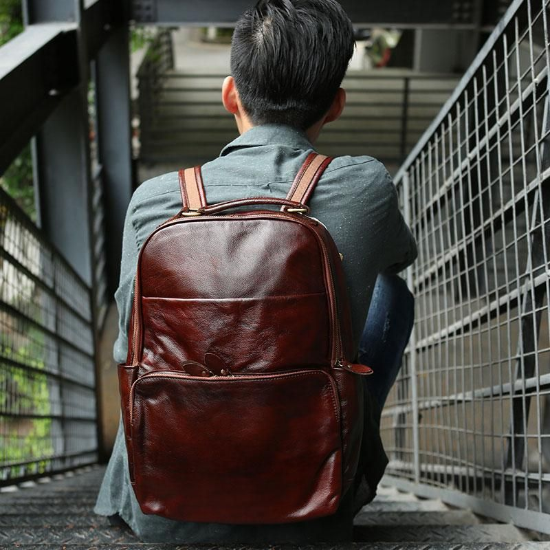 f517b06c4 Vintage Leather Mens Backpack Travel Backpack School Backpacks for men –  iwalletsmen
