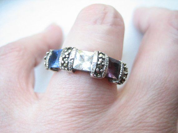 Gorgeous Blue Dyed Sapphire Sterling Silver Overlay 9 Grams Ring Size 8.25 US Sizable