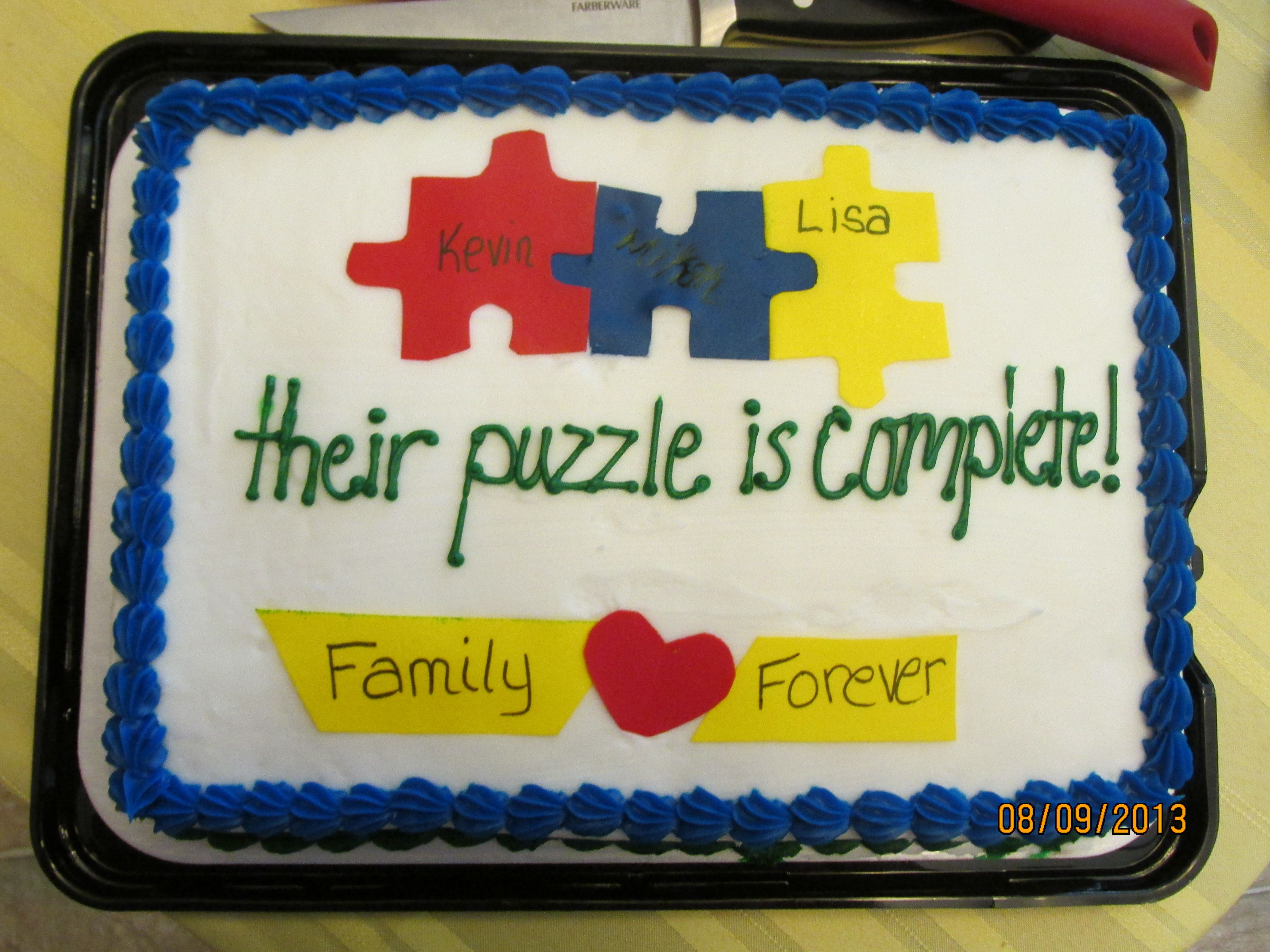 We combined puzzle pieces I just had target make the basic cake and I did the pieces out of