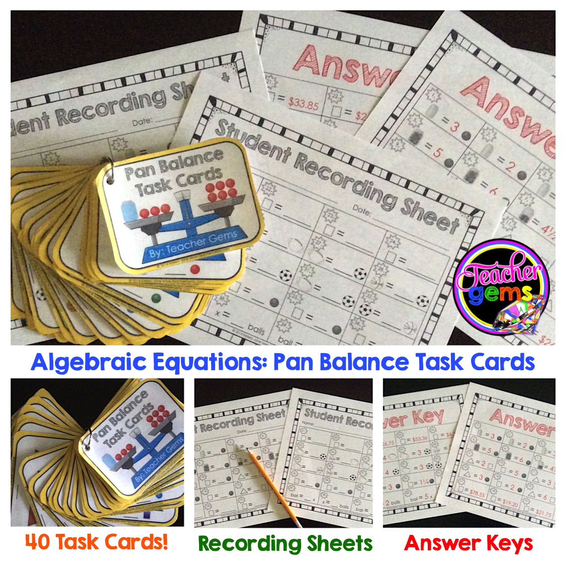 Algebraic Equations Pan Balance Task Cards Grades 4 6