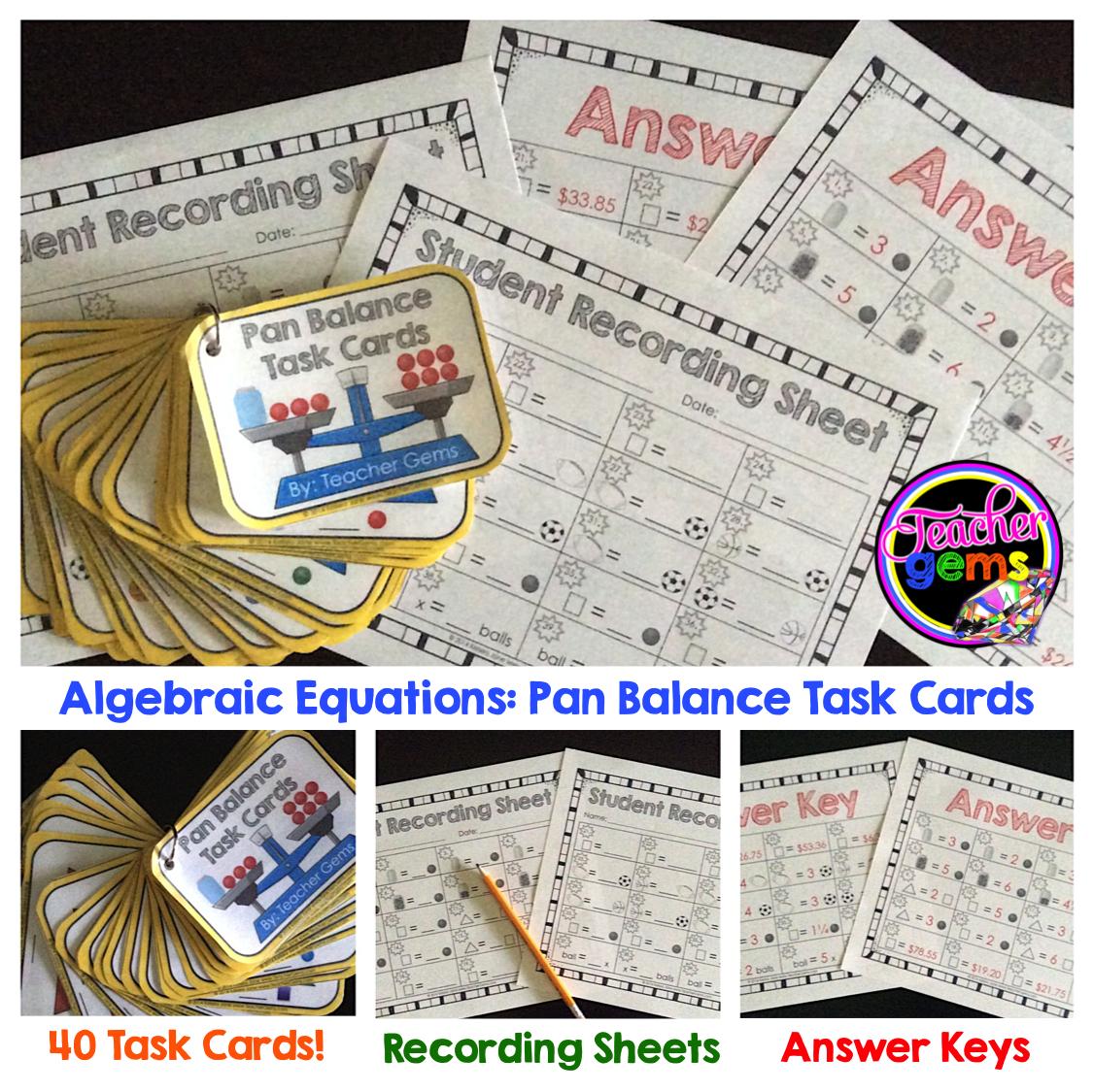 Algebraic Equations Pan Balance Task Cards Grades 4 6