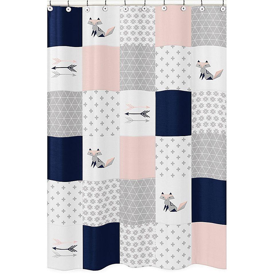 Sweet Jojo Designs Fox Patch Shower Curtain Gray Shower Curtains